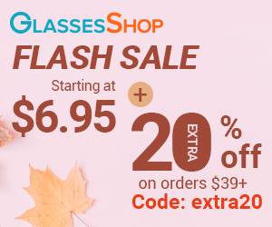 Flash Sale at GlassesShop.com. Starting at $6.95. Take extra 20% off orders $39+ code EXTRA20.