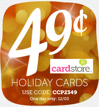 Cardstore: 49¢ Holiday Cards (Includes Stamps & Shipping!) ***TODAY ONLY!!***