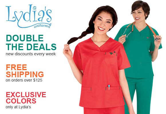Exclusive colors + FREE Shipping on orders over $125 only @ Lydia's Uniforms