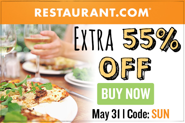 Restaurant.com 80% off Coupon Code   Valid through 10/31