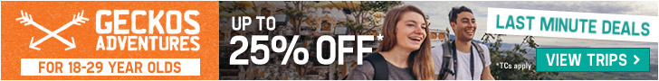 25% Off Last Minute Trips - Geckos Adventures
