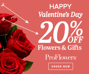 20% off Valentine's Day Flowers & Gifts at ProFlowers (min $39)