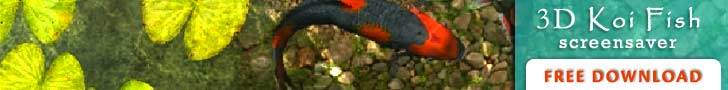 Free 3D Koi Fish Screensaver. Click here to go to Screensavers.com. Opens in a new window.