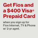 Deals on Verizon FiOS Triple Play for $89.99/mo + FREE $300 Visa or Amazon Gift Card