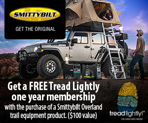 Buy a Smittybilt generator, Fridge or Ten and receive a complimentary membership to Tread Lightly.