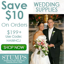 Save 10% on wedding supply and decor orders $249+