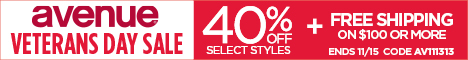 40% off select styles + Free Shipping on $100