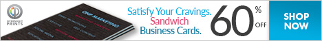 Shop OvernightPrints.com now and Save 60% on Sandwich Business Cards!