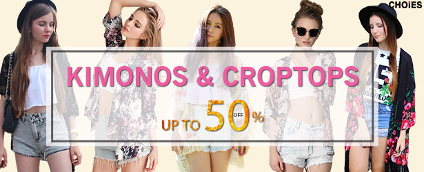 Kimonos and croptops, up to 50% off