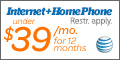 AT&T Home Phone & Internet Service under $39/month for 12 months - Offer