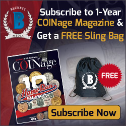 FREE Sling Bag with Beckett COINage 1 Year Print Subscription. Hurry Up.