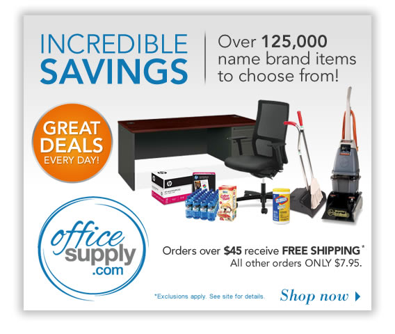 Find incredible savings on over 125,000 name brand office items at OfficeSupply.com.