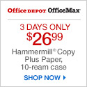3 Day Sale! (Wed-Fri) $26.99 Hammermill Copy Plus MP Paper; limit 5