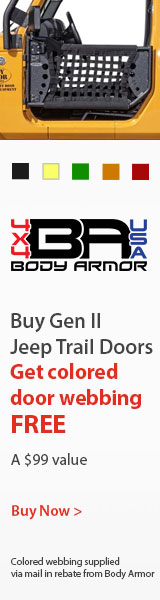 Get your choice of FREE colored webbing when you purchase Gen III Jeep Trail Doors