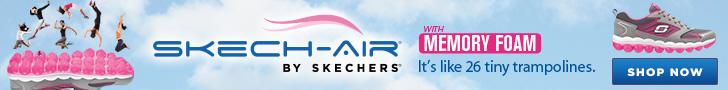 SKECH-AIR with SKECHERS Memory Foam. It's like 26 tiny trampolines. Enjoy walking on air. Shop Now.