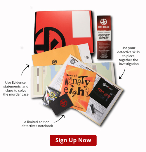 Hunt a Killer Review with tips, tricks and advice. Description of Hunt a Killer game play and review of product and service. Hunt a Killer discount. 15% off first box.