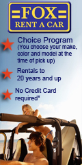 Click for Car Rental Coupons at Fox Rent A  Car
