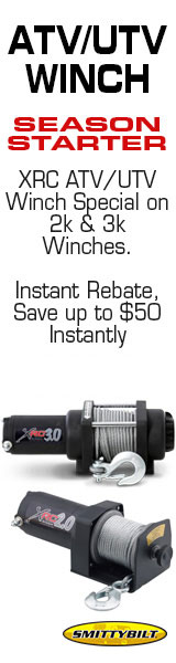Get up to $50.00 off 3K & 2K  XRC ATV/UTV winches by Smittybilt.