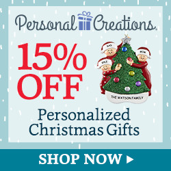 15% off Personalized Christmas Gifts & Decor from Personal Creations (250 x 250)