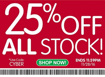 Cyber Monday Sale – Save 25% Off All Stock & Get Free Shipping!