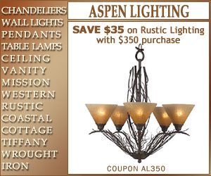 SAVE $35 on Rustic Lighting with $350 purchase
