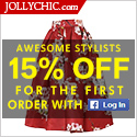 Facebook Follower Special - Login JollyChic.com with Facebook and get 15% OFF on the first order. Ch