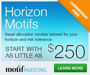 Commission-free Horizon motifs: Assets allocation models tailored for your horizon and risk tolerance