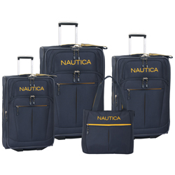 -Nautica Helmsman 4 Piece -Expandable Wheeled Luggage Set Now Only $175.47 Org. $880.00 Plus Free Shipping Use Promo Code NAHM at checkout.