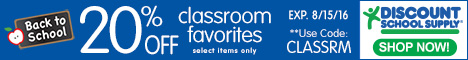 Save 20%  Off Select Classroom Favorites At Discount School Supply!  Get Free Shipping!