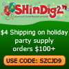 $4 Shipping on party supplies. Use code SZCJD9