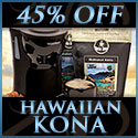 2 bags of Kona and a 1-cup coffee maker