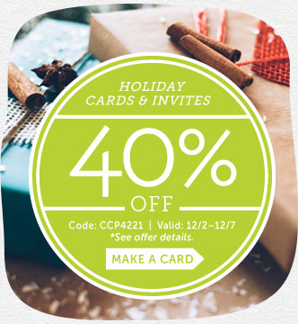 Cyber Week! Save 40% off Holiday Cards & Invites at Cardstore! Use Code: CCP4221. Valid 12/2 through
