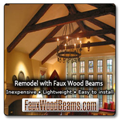Beautiful, lightweight faux ceiling beams