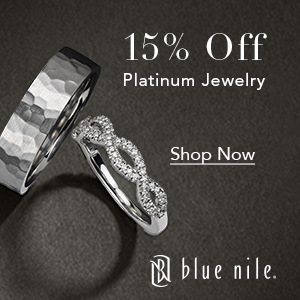 15% off select platinum wedding rings and fine jewelry