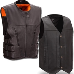 Men's Leather Motorcycle Vests From The Bikers' Den