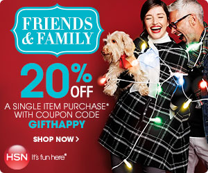 20% off single item at HSN.com! Exclusions apply. Use code: GIFTHAPPY