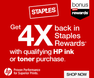 Get 4X Back in Staples Rewards with qualifying HP Ink or Toner purchase
