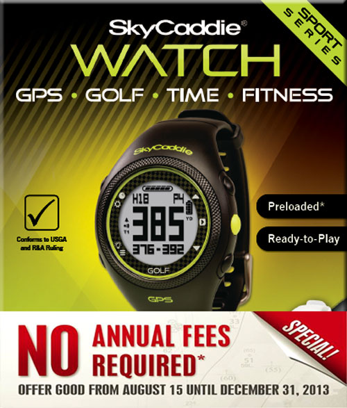 No Annual Fees Required on SkyCaddie Watch, Aire, and Gimme GPS
