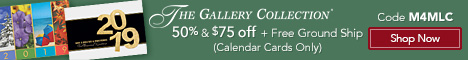 50% + $75 Off + Free Ground Shipping on Calendar Cards Only with Priority Code M4MLC at The GalleryC