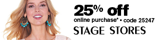 25% OFF on Stage Stores at shop.stagestores.com with code 25247