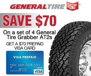 Buy 4 General Tire Grabber AT2 off-road tires and get a $70 Visa Prepaid Card