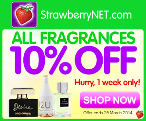 10% OFF All Fragrances!  Hurry, one week only at StrawberryNET.com.