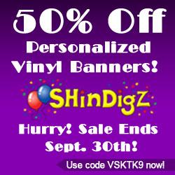50% off vinyl banners at Shindigz!