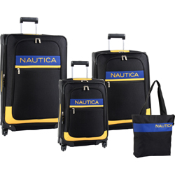 -Nautica Rhumb Line -4 Piece Expandable Wheeled Luggage Set Now Only $259.97 Org. $1,240.00 Plus Free Shipping Use Promo Code NTRH at checkout.
