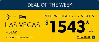 Return Flights to Las Vegas and 7 nights hotel for $1543 from Expedia