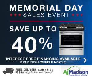 Memorial Day Sales Event! Save up to 40% on major appliances + Free Delivery on thousands of items a