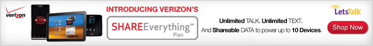 Get the Verizon Share Everything Plan with Unlimited Talk & Text & Shareable Data on up to 10 devices