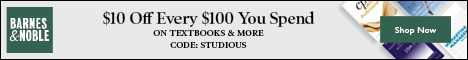 Save $10 off $100 on Textbooks and More with code: STUDIOUS