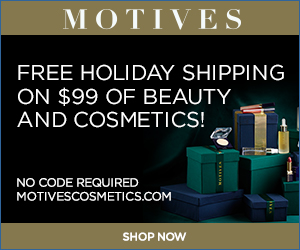 Image for (MC) Free Holiday Shipping on any $99 purchase of Beauty, Cosmetics and Skincare at MotivesCosmetics.com!  SHOP NOW! (Valid thru 12/31)