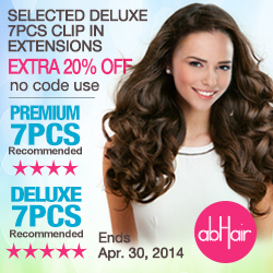 Selected deluxe 7PCS clip in hair extensions extra 20% off, no code use.